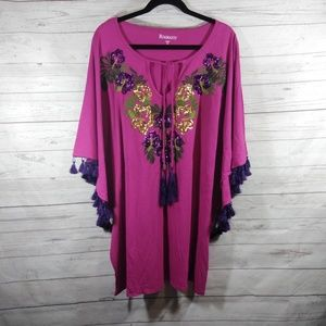 Roamans pink sequined floral tunic top